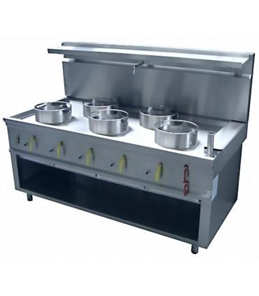 Feux chinois 5 brûleurs asiatiques wok avec 5 couronnes amovibles Ø 290 mm - C5R JUMBO + Rideau d'eau Bertrand Teknolam