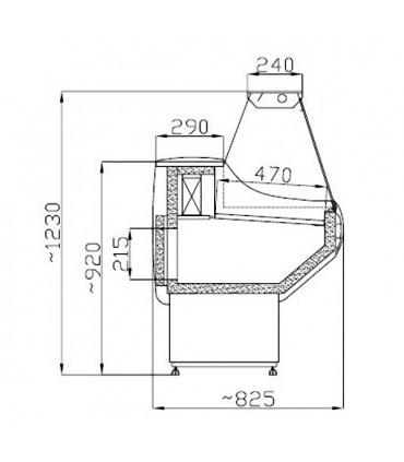 Dimensions Vitrine réfrigérée statique VINNIE 7486-0005 Combisteel