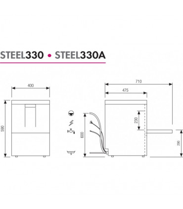 Dimensions lave-verres 35x35 STEEL330 STEELTECH COLGED