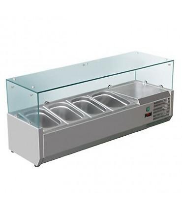 Vitrine à ingrédients réfrigérée 1,2 m avec pare-haleine prévue pour bacs 4xGN1/3 - VRX1200/380