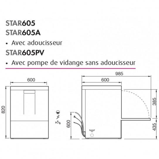 Dimension lave-vaisselle 50x50 STAR605DGPV STARTECH COLGED NOSEM