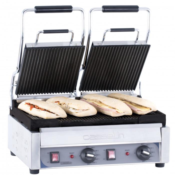 Grill panini double surfaces rainurées