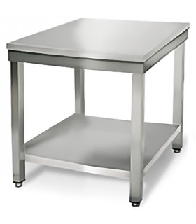 Table inox 700x700 centrale AISI304 + 1 sous tablette