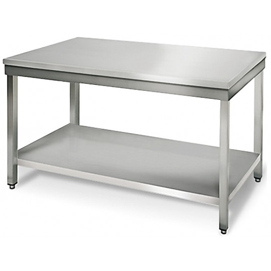 Table inox 1400x700 centrale AISI304 + 1 sous tablette