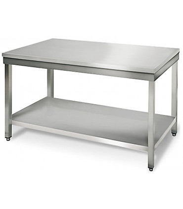 Table inox 1500x700 centrale AISI304 + 1 sous tablette