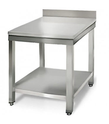 Table inox 700x700 adossée AISI304 + 1 sous tablette