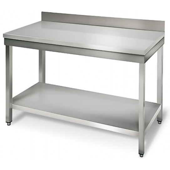 Table inox 1200x700 adossée AISI304 + 1 sous tablette