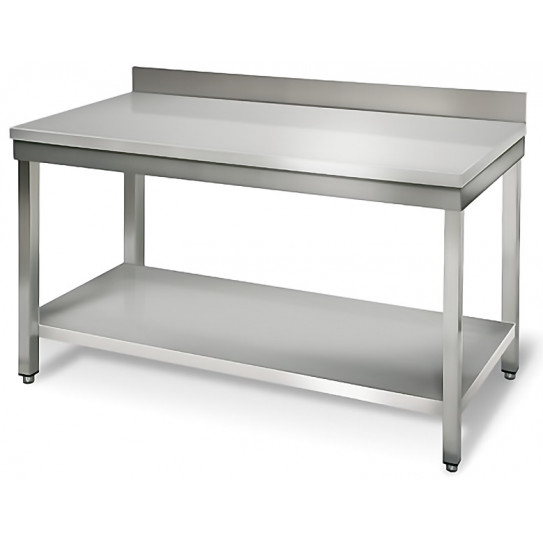 Table inox 1400x700 adossée AISI304 + 1 sous tablette