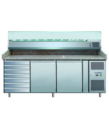 Meuble préparation pizza dessus granit, vitrine réfrigérée, 7 tiroirs, 2 portes PZ2610TN-VRX380