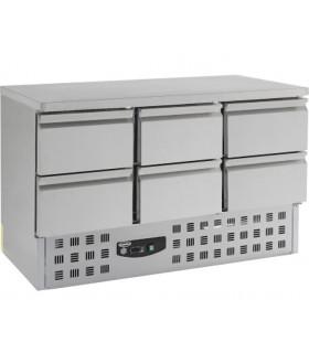 Table desserte réfrigérée inox à 6 tiroirs. Dim 1365x700x850 mm - 7450.0113 Combisteel