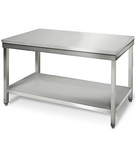 Table inox 1200x700 centrale AISI304 + 1 sous tablette