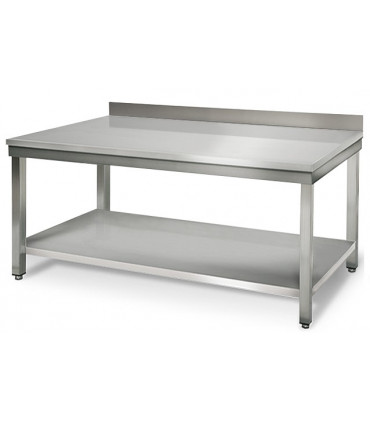 Table inox 1500x700 adossée AISI304 + 1 sous tablette