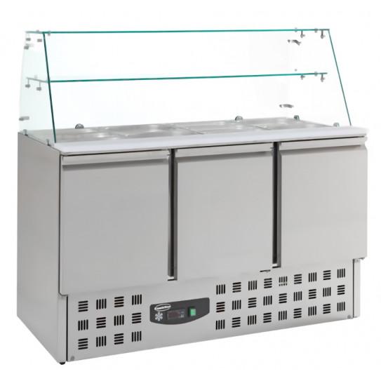 Saladette réfrigérée 3 portes dessus 4xGN1/1 avec pare-haleine en verre + étagère verre + plan de découpe