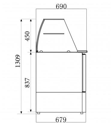Dimension saladette réfrigérée 3 portes dessus 4xGN1/1