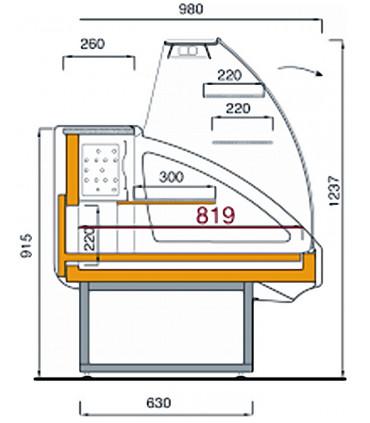 Comptoir vitrine réfrigérée shéma dimensions - UT14/A4 DIAMOND