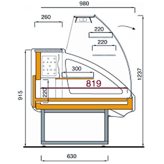 Comptoir vitrine réfrigérée shéma dimensions - UT29/A4 DIAMOND