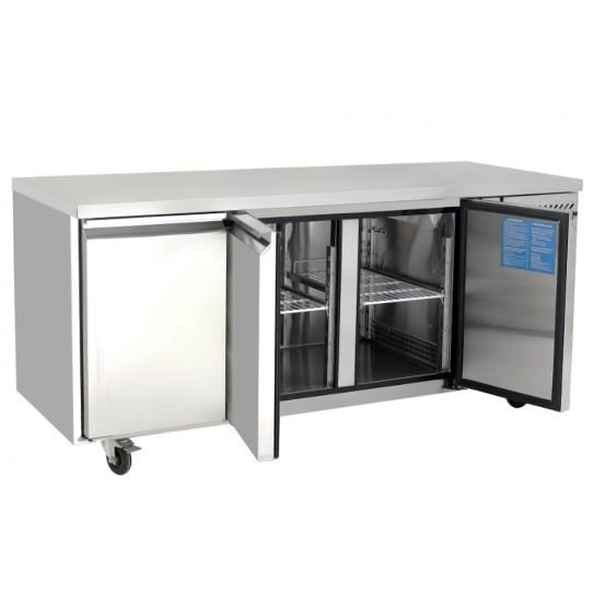 Desserte inox GN1/1 réfrigérée 3 portes Froid positif ventilé Tropicalisé Gastronorm EPF3432 Atosa