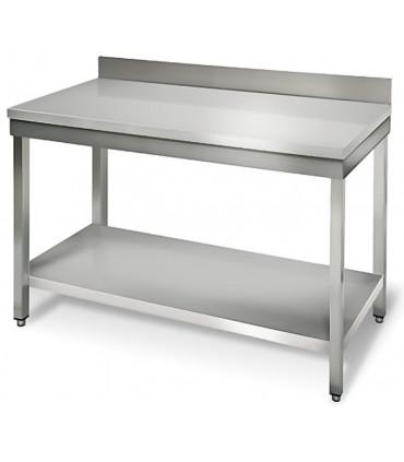 Table inox 1200x600 adossée AISI304 + 1 sous tablette BUD-DCTAE126 L2G THATS126A