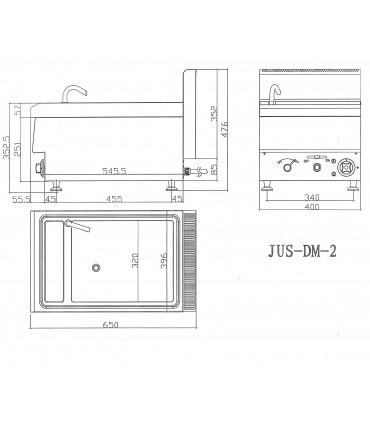 Dimensions JUS DM 2 - Cuiseur à pâtes électrique top de table 15L 5,4kW
