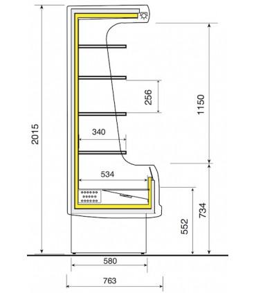 Vitrine murale réfrigérée ventilée 120 + rideau de nuit - EM12-G/A1-R2 DIAMOND