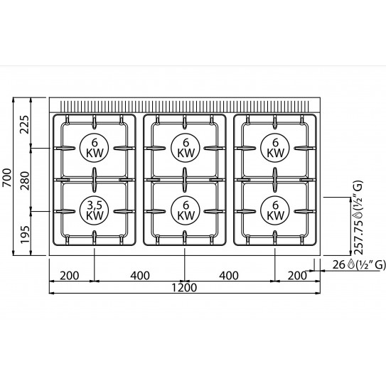 Dessus Fourneau Gaz 6 feux sur placard BERTO'S MACROS 700 ECO POWER G7F6MPW 18603600