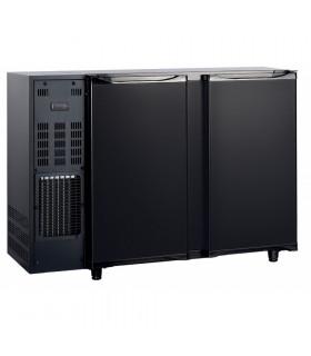 Desserte réfrigérée de bar 2 portes pleines en skinplate noir L 1250mm - Capacité 252 bouteilles - FGB125 AFI Collin-Lucy