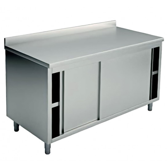 Table armoire inox 1600x700 2 portes coulissantes