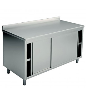 Table armoire inox 1400x700 2 portes coulissantes