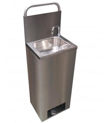Lave-mains inox autonome par pression pompe à pied