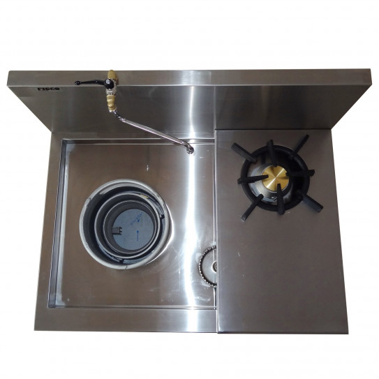 Wok réchaud super dragon 45 kW + 1 feu vif à droite 7,5kW Figco & Co SD2M1100