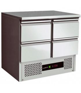 Table desserte réfrigérée inox à 4 tiroirs. Dim 900x700x850 mm - 7450.0110 Combisteel