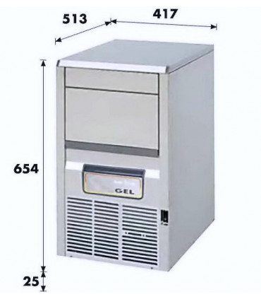 Machine à glaçons 21 kg / 24 h à palettes -  Dimensions extér. 417x513x654 (+25) mm