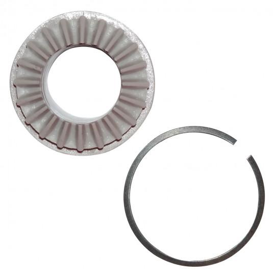 Engrenage conducteur cylindre + Joint ressort métallique à clipper.  Pour formeuse pizza Prismafood DSA 420 - 310 JILO 42 - 31