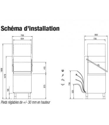 Dimensions lave-vaisselle à capot MBM type LK605 et Schéma d'installation