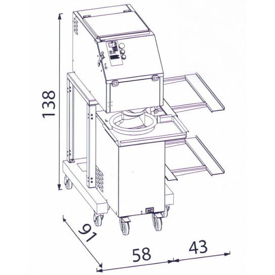Dimensions : Diviseuse P40 + Bouleuse KALI + SUPPORT - Velma Pastaline