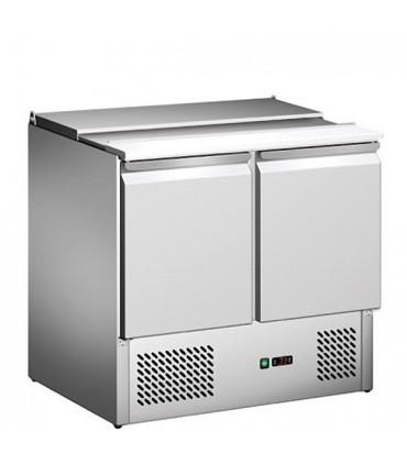 Saladette réfrigérée ventilée inox 2 portes + plan de découpe S900STD