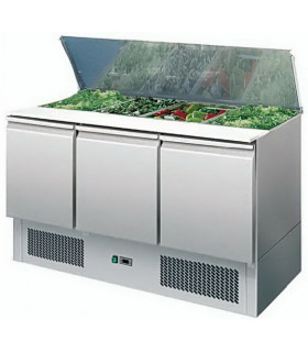 Saladette réfrigérée ventilée inox 3 portes + plan de découpe S903STD