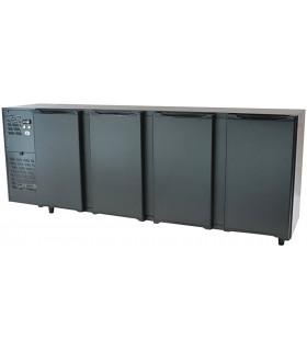 Desserte réfrigérée de bar 4 portes pleines en skinplate noir - 2770 mm - Capacité 816 bouteilles - FGB277