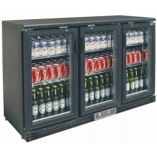 Desserte réfrigérée de bar 3 portes vitrées + skinplate noir - L1350 x P535 x H935 mm - 335 L - C3B