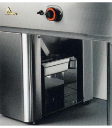Détail bac GN1/3 x 100 de récupération des graisses intégré dans le piètement - FRY-TOP MAINHO FC-120/7