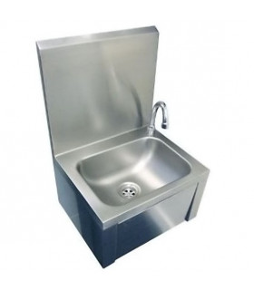 Lave-mains inox à commande fémorale par panneau basculant grand dosseret