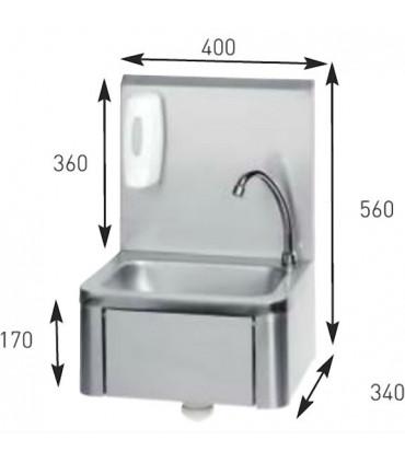 Dimensions : lave-mains inox à commande fémorale grand dosseret