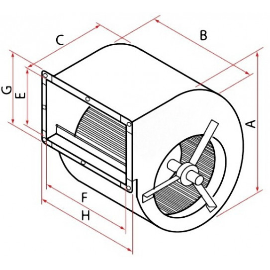 Dimensions en mm – A≃390 – B≃300 – C≃382 – E≃254 – F≃292 – G≃304 – H≃346 - Moteur de hotte