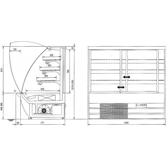 Dimensions vitrine réfrigérée sandwichs viennoiseries +2°C/+4°C