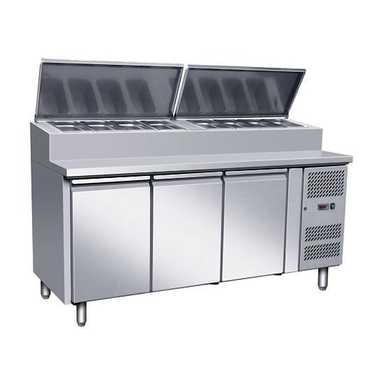 Table préparation sandwich pizza 2020, profondeur 800 - 3 portes - 10 emplacements GN1/3
