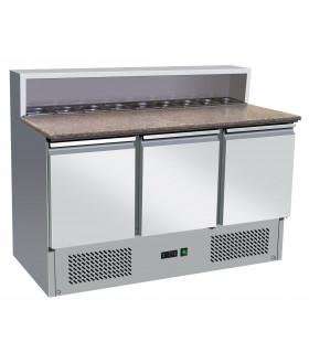 Table pizzaloio préparation sandwichs et pizzas dessus granit + emplacement bacs gastro GN1/6