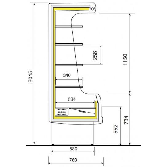 Vitrine murale réfrigérée ventilée 200 - Dimension 2000x763xh2015 mm - EM20-G/A1 DIAMOND