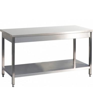 Table inox AISI 441 avec 1 sous tablette -  L(600 à 2400) x P700 x H850 mm