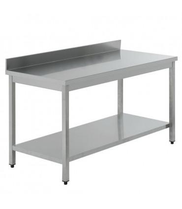 Table inox adossée AISI 441 avec 1 sous tablette - L(600 à 2400) x P700 x H850 mm
