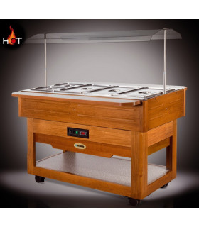 Self buffet chaud +30 +90°C en bois BREAKFAST CALDA SCAIOLA